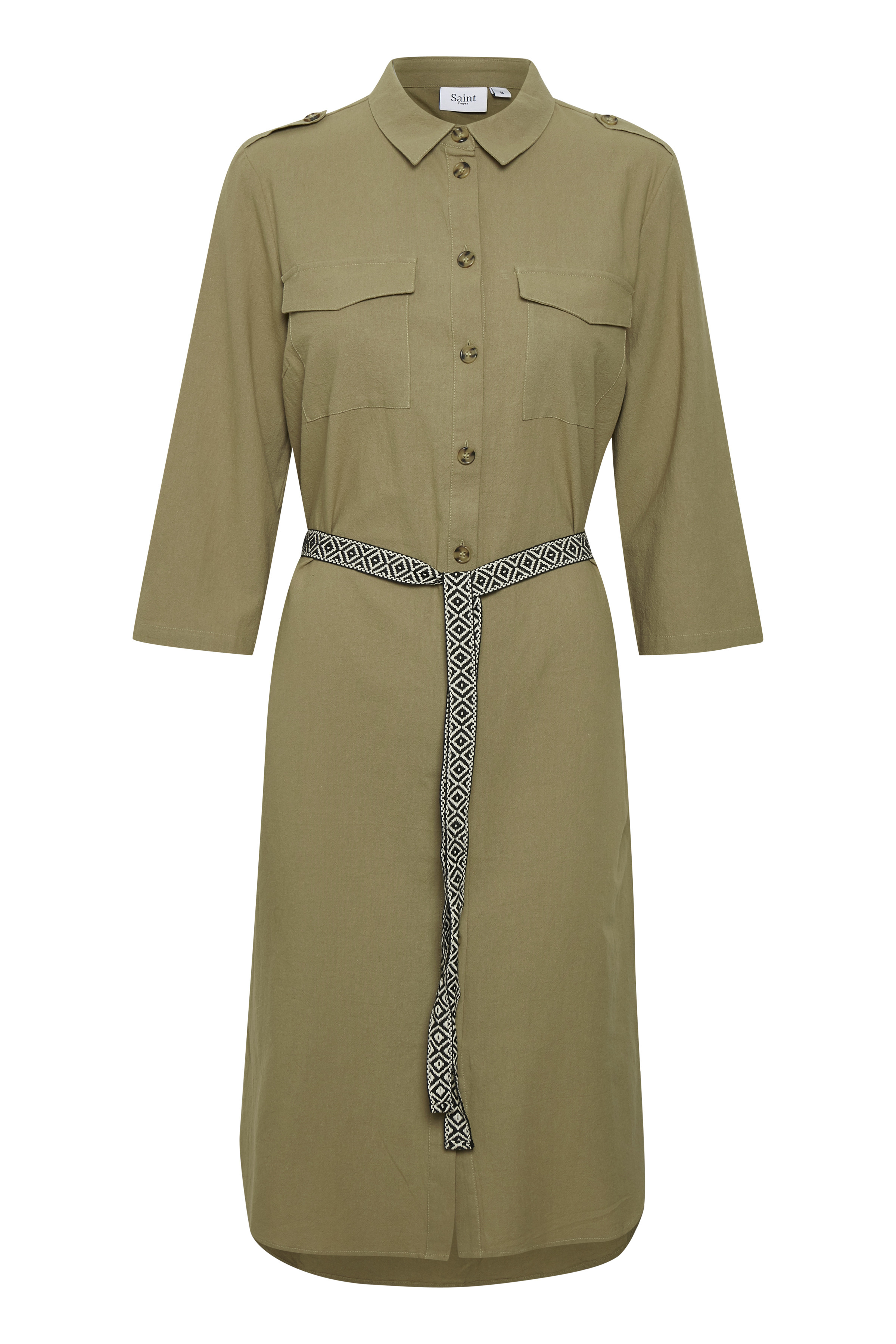 Saint Tropez støvet grøn skjorte kjole