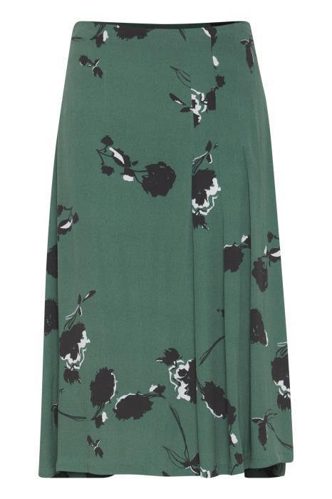 e44a8e0cf574 ICHI grøn nederdel med blomsterprint. - ICHI - Designere