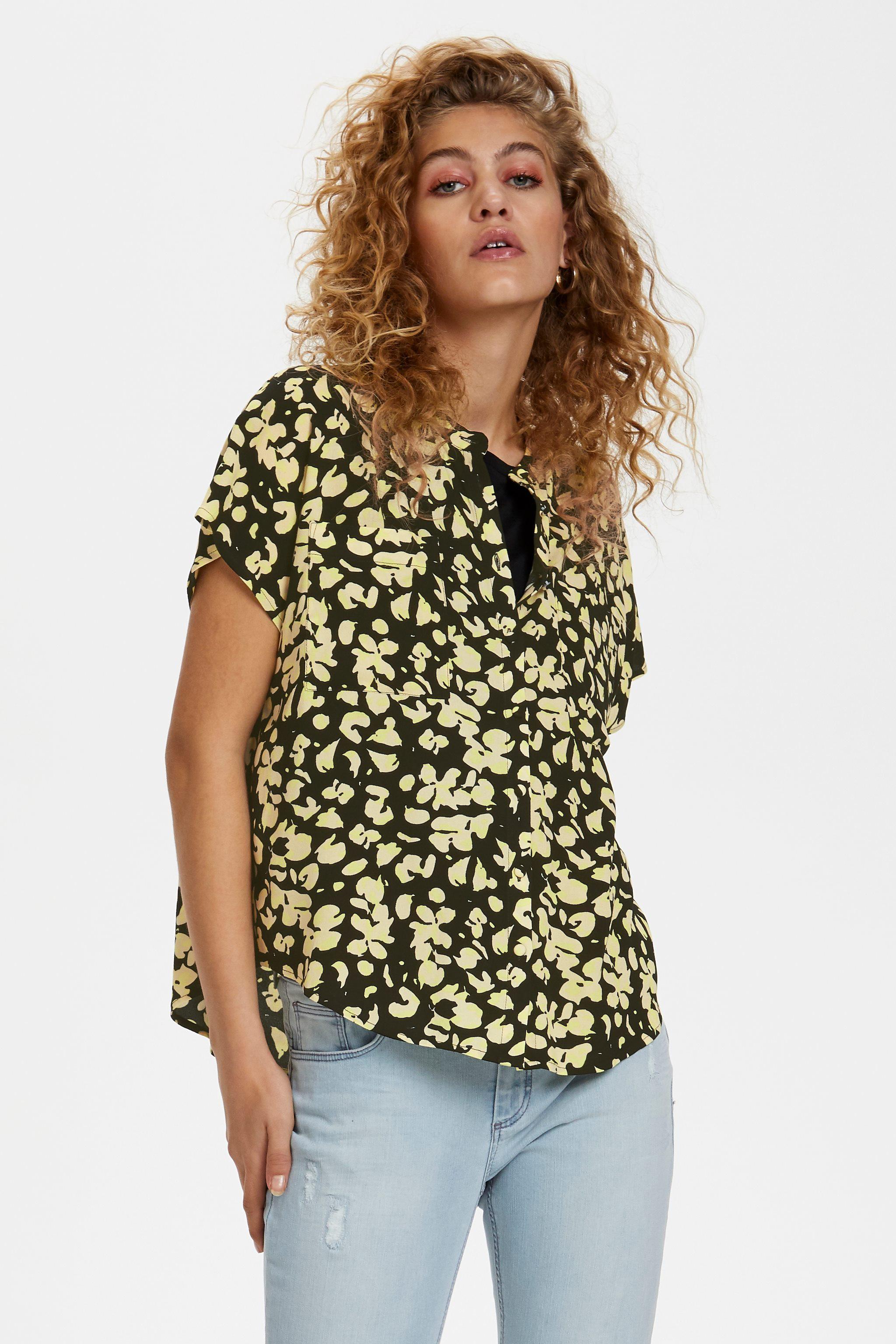 Denim Hunter sort bluse med gult.