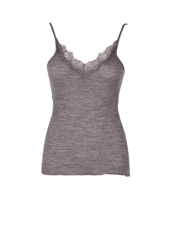 fdbcf093855 Saint Tropez uld top med blondekant - gråmeleret - T-shirt/toppe - Tøj