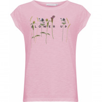 COSTER tee i pink med blomster foran