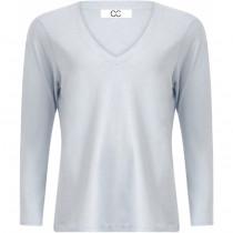 COSTER langærmet t-shirt i lyseblå med v-hals