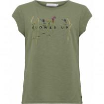 Coster Copenhagen t-shirt i støvet grøn med blomster foran