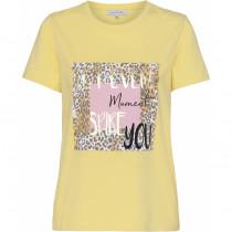 Continue t-shirt i gul med motiv