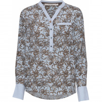 Costamani bluse i lyseblå med brunlig print