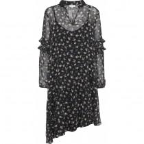 Continue sort kjole med små blomster.