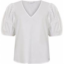 COSTER hvid bluse med v-hals og volumen ærmer