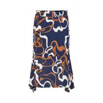 Denim Hunter blå nederdel med brune og hvide farver.