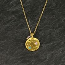 Pure By Nat Guldbelagt kæde m. amulet og sten