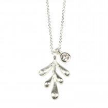 Pure By Nat lang kæde med sølvbelagt vedhæng
