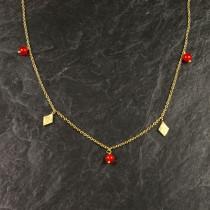 Pure By Nat kæde med rød jade vedhæng