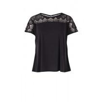 Saint Tropez sort bluse i sort med blonde foroven