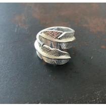 Pure By Nat sølvbelagt ring med fjer