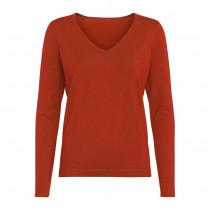 Caddis Fly pullover i en rød farve med v-hals