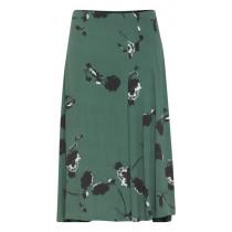 ICHI grøn nederdel med blomsterprint.