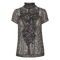 Saint Tropez sort bluse med guldtråd