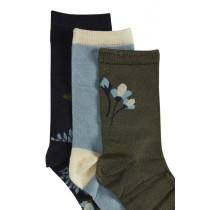 ICHI sokkeboks i blå farver med 3 par