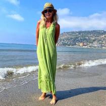 Cabana Living æblegrøn kjole i viskose