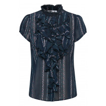 Saint tropez mørkeblå bluse med rosa print.