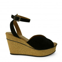 ReDESIGNED BY DIXIE sort sandal med kork