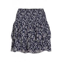 ICHI mørkeblå nederdel i sødt blomsterprint