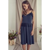ICHI mørkeblå kjole med stropper