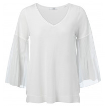 YAYA hvid bluse i tynd strik kvalitet