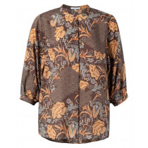 YAYA mocca bluse med blomster