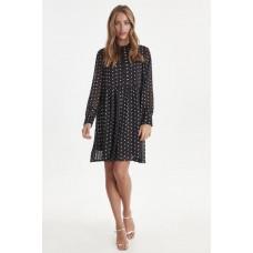ICHI sort kjole med hvide prikker