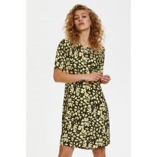 Denim Hunter sort kjole med gult print.