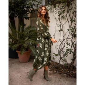 YAYA mørkegrøn kjole med lyse blomster