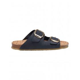Tim & Simonsen mørkeblå sandal med guldspænde