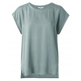YAYA cupro/viskose bluse i sart blå