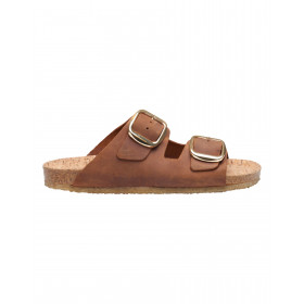Tim & Simonsen cognac sandal med guldspænde